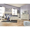 Signature Design by Ashley Bellaby White Finish Farmhouse Style King Panel Bed with Cross-Buck Design
