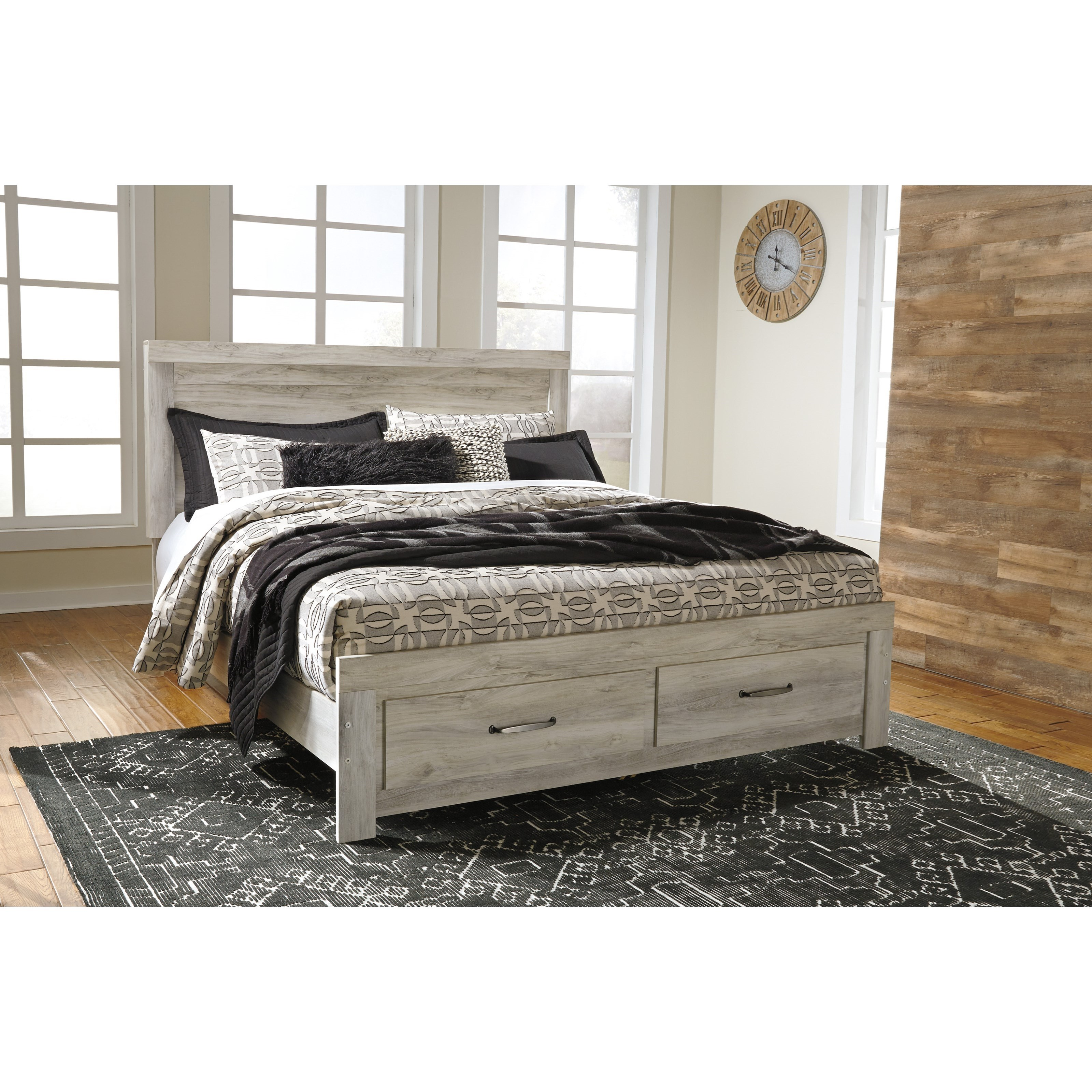 King Panel Bed with Storage Footboard