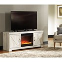 Signature Design by Ashley Bellaby Large TV Stand in Rustic White Finish with Fireplace
