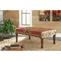Signature Design by Ashley Benches Denequa Wool/Cotton Blend Accent Bench with Wooden Turned Legs