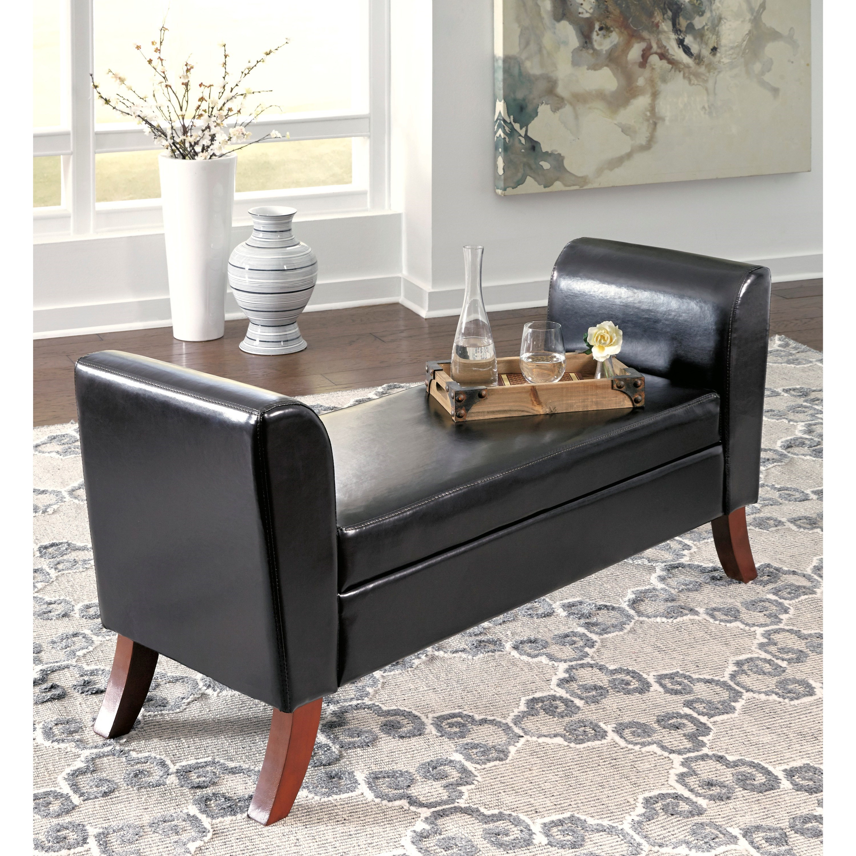 Signature Design By Ashley Benches Upholstered Storage Bench In Brown Faux Leather Miskelly