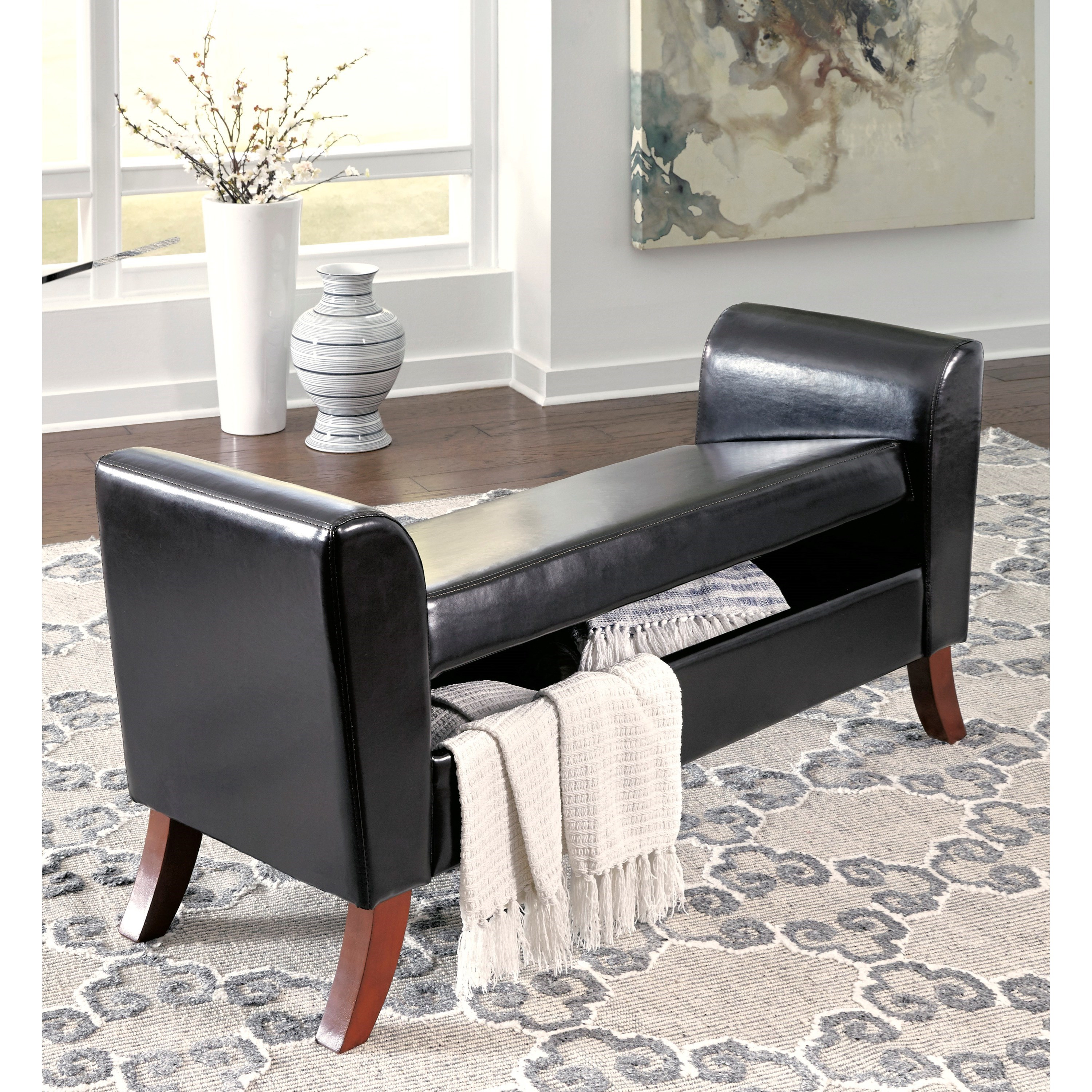 Signature design by ashley benches b010 109 upholstered - Upholstered benches for living room ...