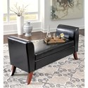 Signature Design by Ashley Benches Upholstered Storage Bench in Brown Faux Leather