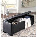 Signature Design by Ashley Benches Upholstered Storage Bench in Black Faux Leather with Tufted Top