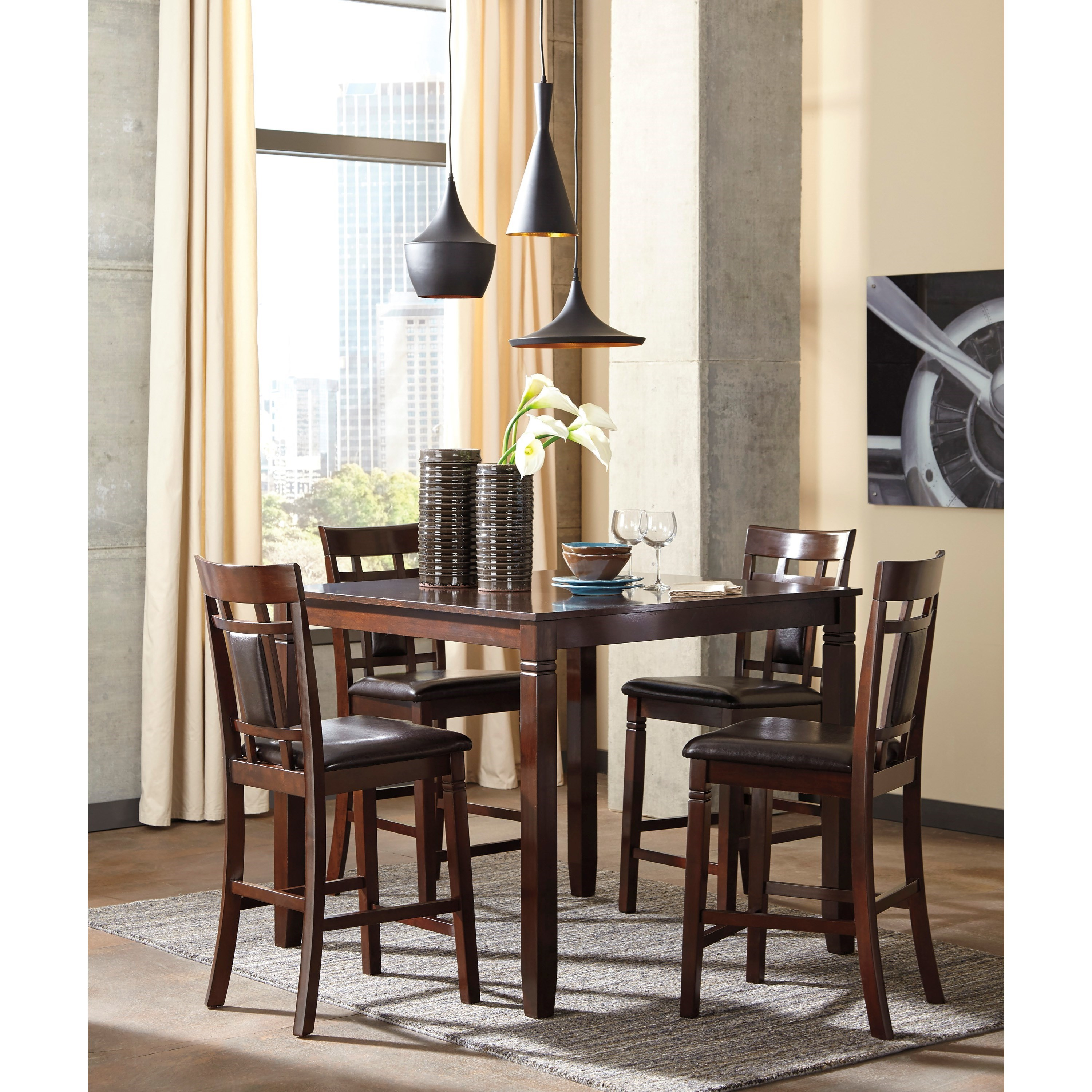 Ashley Signature Design Bennox Contemporary 5 Piece Dining Room Counter Table Set Dunk