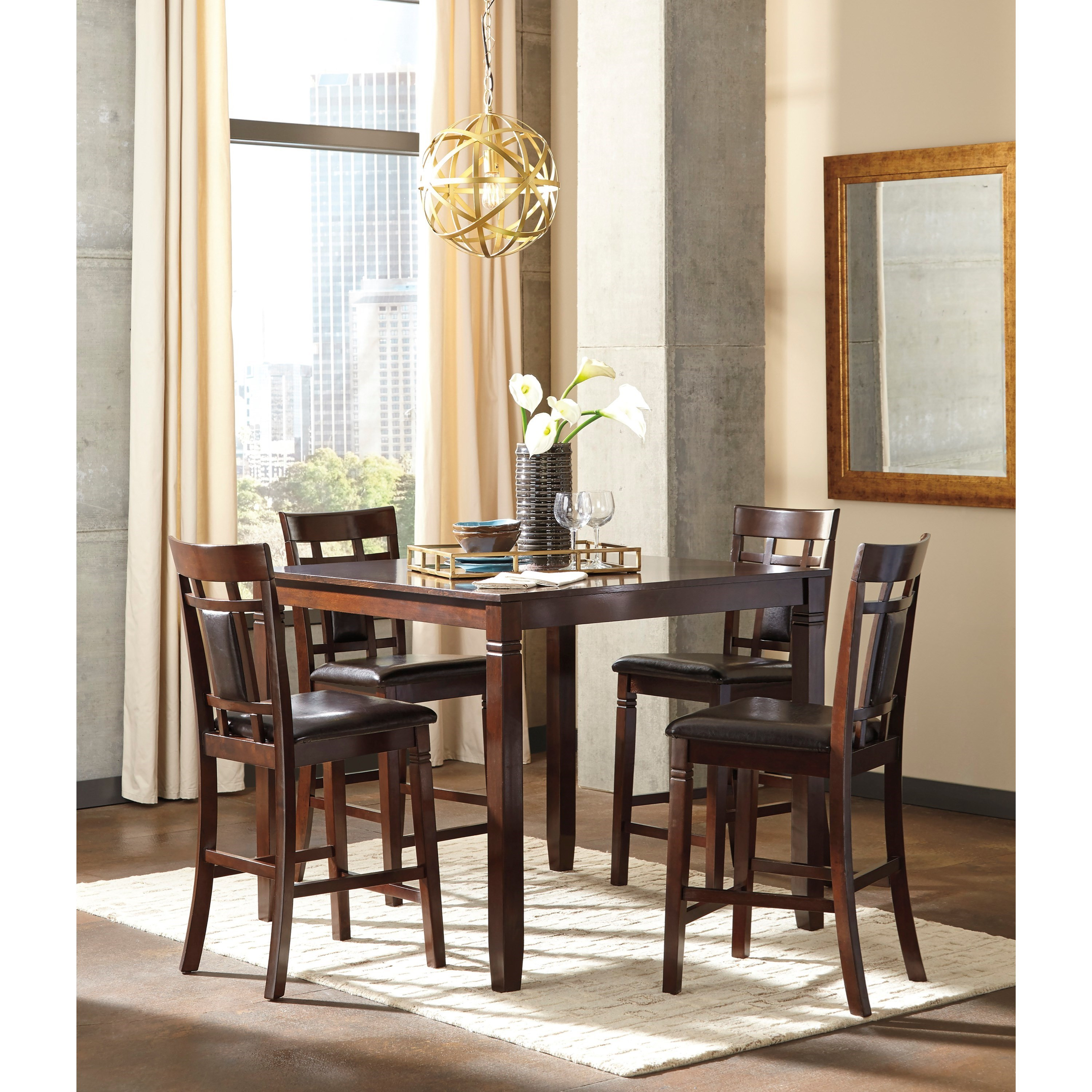 Signature design by ashley bennox contemporary 5 piece for 5 piece dining room set with bench