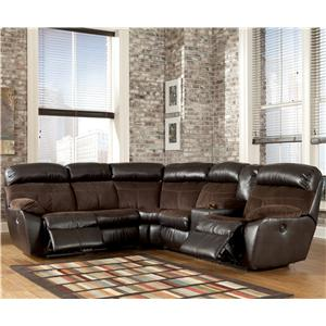 Signature Design by Ashley Berneen - Coffee Reclining Sectional with Right Side Console