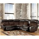Signature Design by Ashley Berneen - Coffee Reclining Sectional with Right Side Console - Item Number: 5450148+67