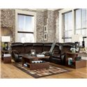 Signature Design by Ashley Furniture Berneen - Coffee Reclining Sectional with Right Side Console - Sectional Shown May Not Represent Exact Features Indicated