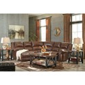 Signature Design by Ashley Billwedge Leather Match Reclining Sectional with Left Chaise