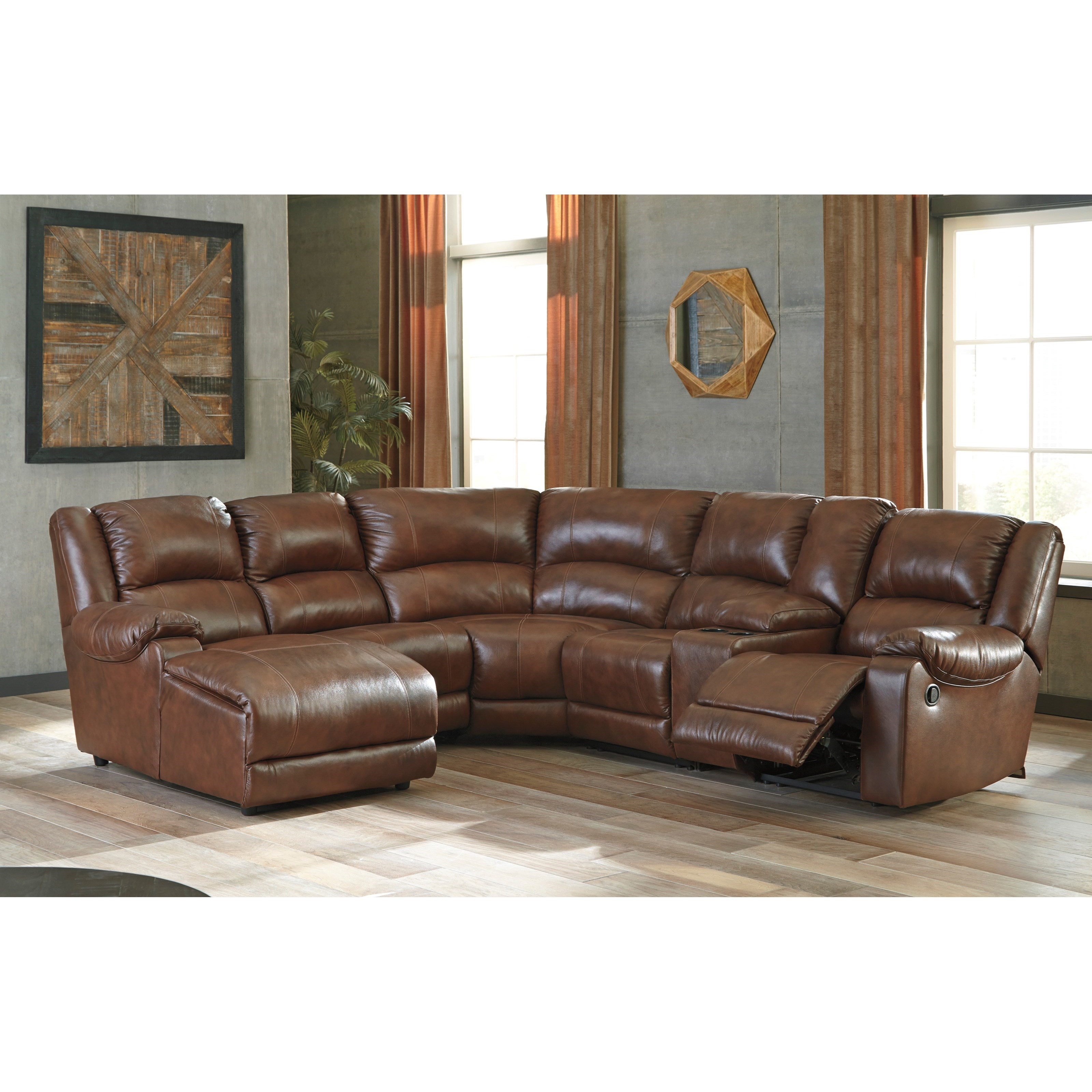 Signature design by ashley billwedge leather match for Ashley reclining sectional with chaise