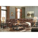 Signature Design by Ashley Billwedge Leather Match Reclining Sectional with Right Chaise