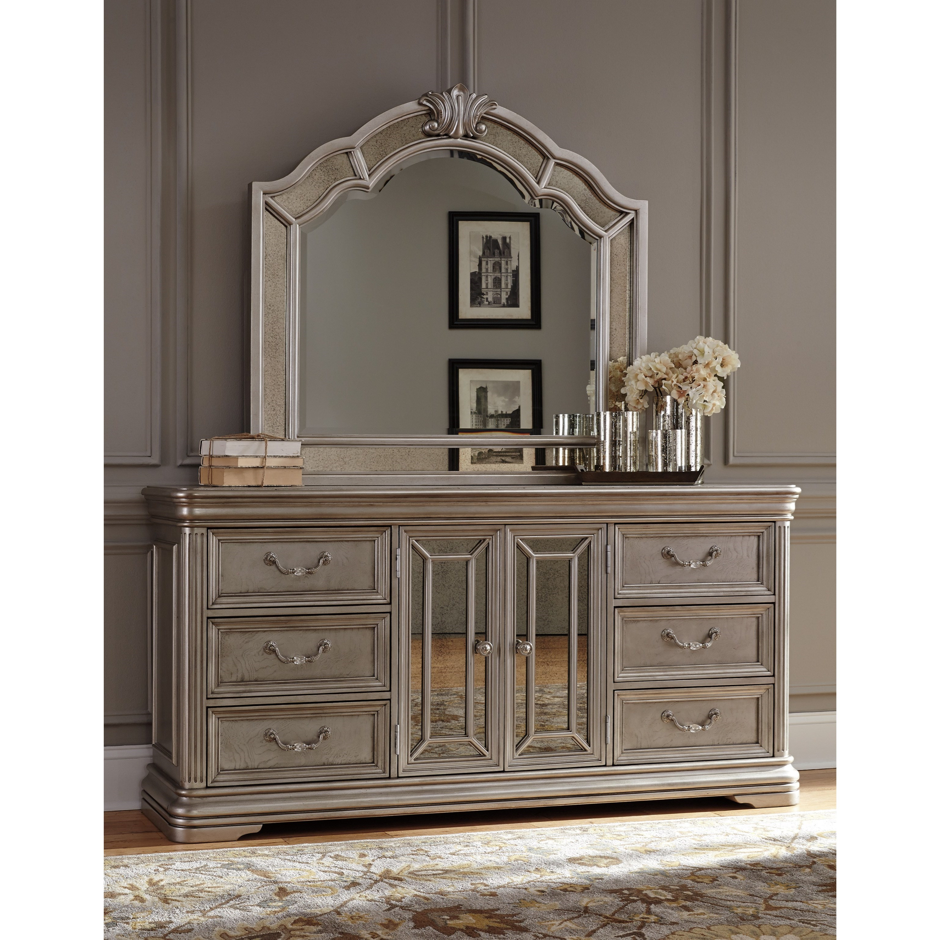 Signature Design By Ashley Birlanny Dresser With Mirror Panels Bedroom Mirror Miskelly