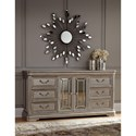 Signature Design by Ashley Birlanny Dresser with Mirror Panel Doors & Silver Finish