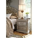 Signature Design by Ashley Birlanny Two Drawer Night Stand in Silver Finish