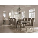Signature Design by Ashley Birlanny Glam 9-Piece Rectangular Dining Table Set in Silver Finish