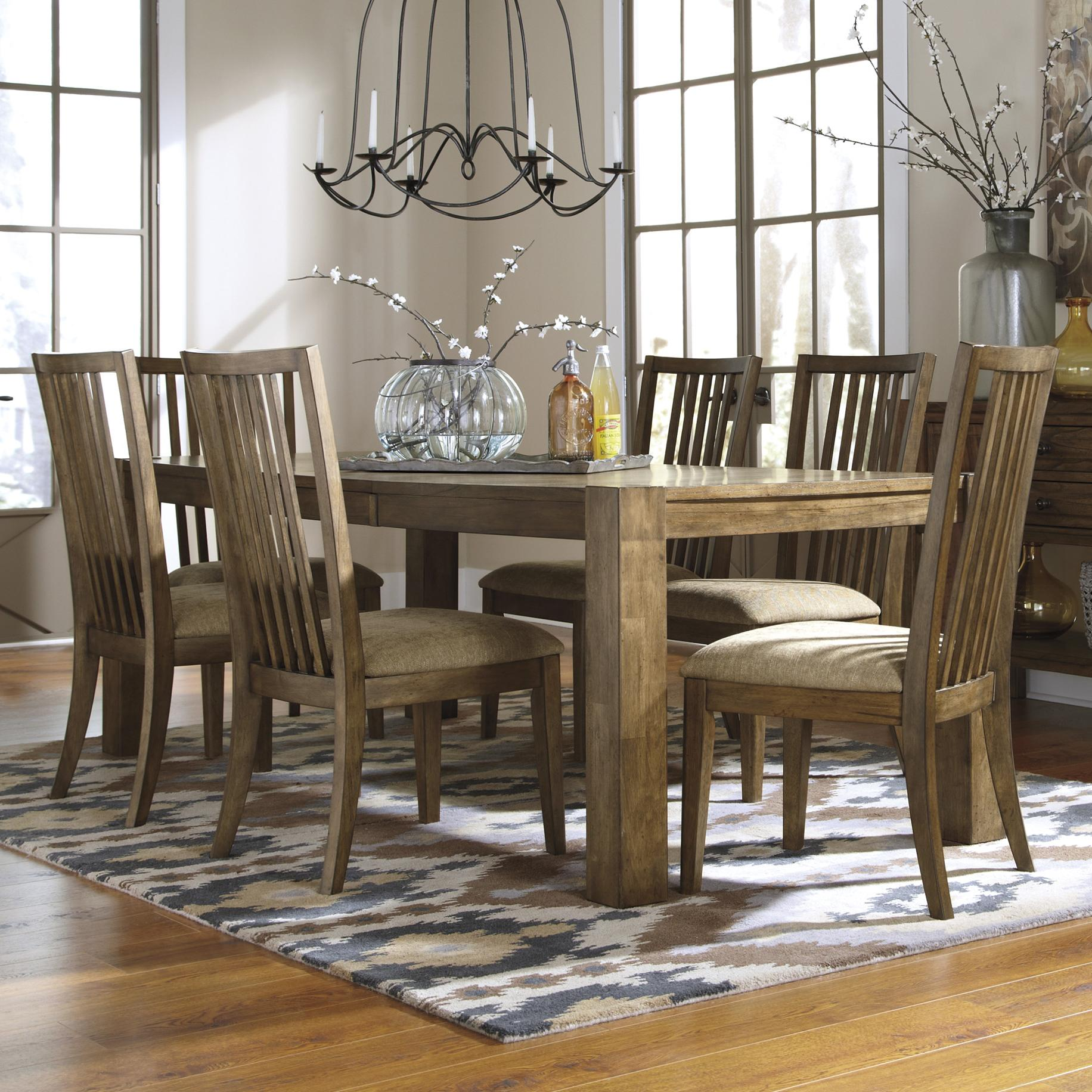 Signature Design by Ashley Birnalla 7-Piece Rectangular Extension Table Set - Item Number: D585-35+6x01