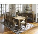 Signature Design by Ashley Birnalla 9-Piece Rectangular Extension Table Set