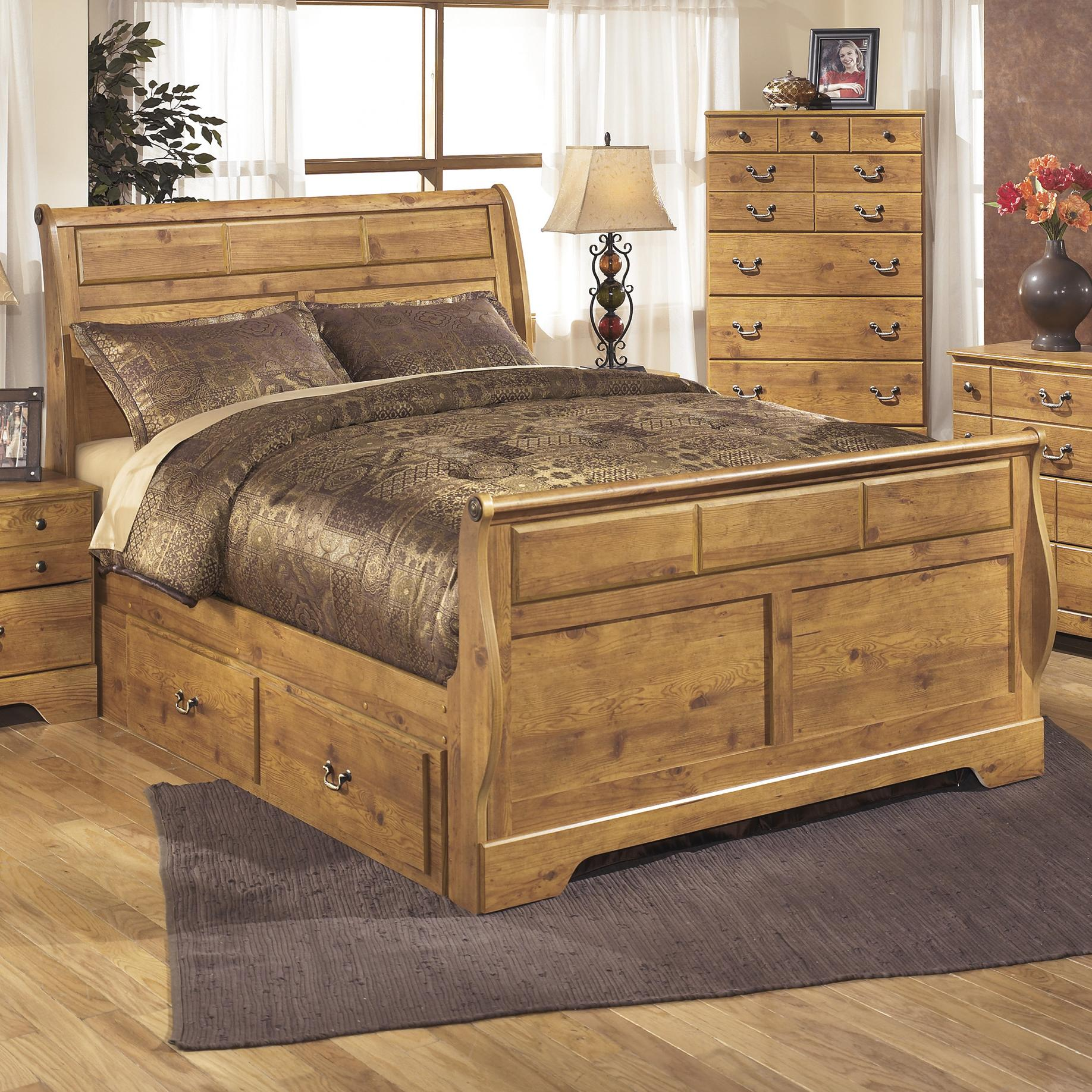 Signature Design by Ashley Bittersweet Queen Sleigh Bed with Under Bed Storage - Item Number: B219-65+63+86+50