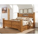 Signature Design by Ashley Bittersweet King Poster Panel Bed with Under Bed Storage