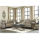 Signature Design by Ashley Blackwood Transitional Loveseat with Showood Trim in Dark Finish