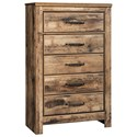 Signature Design by Ashley Blaneville Five Drawer Chest - Item Number: B224-46