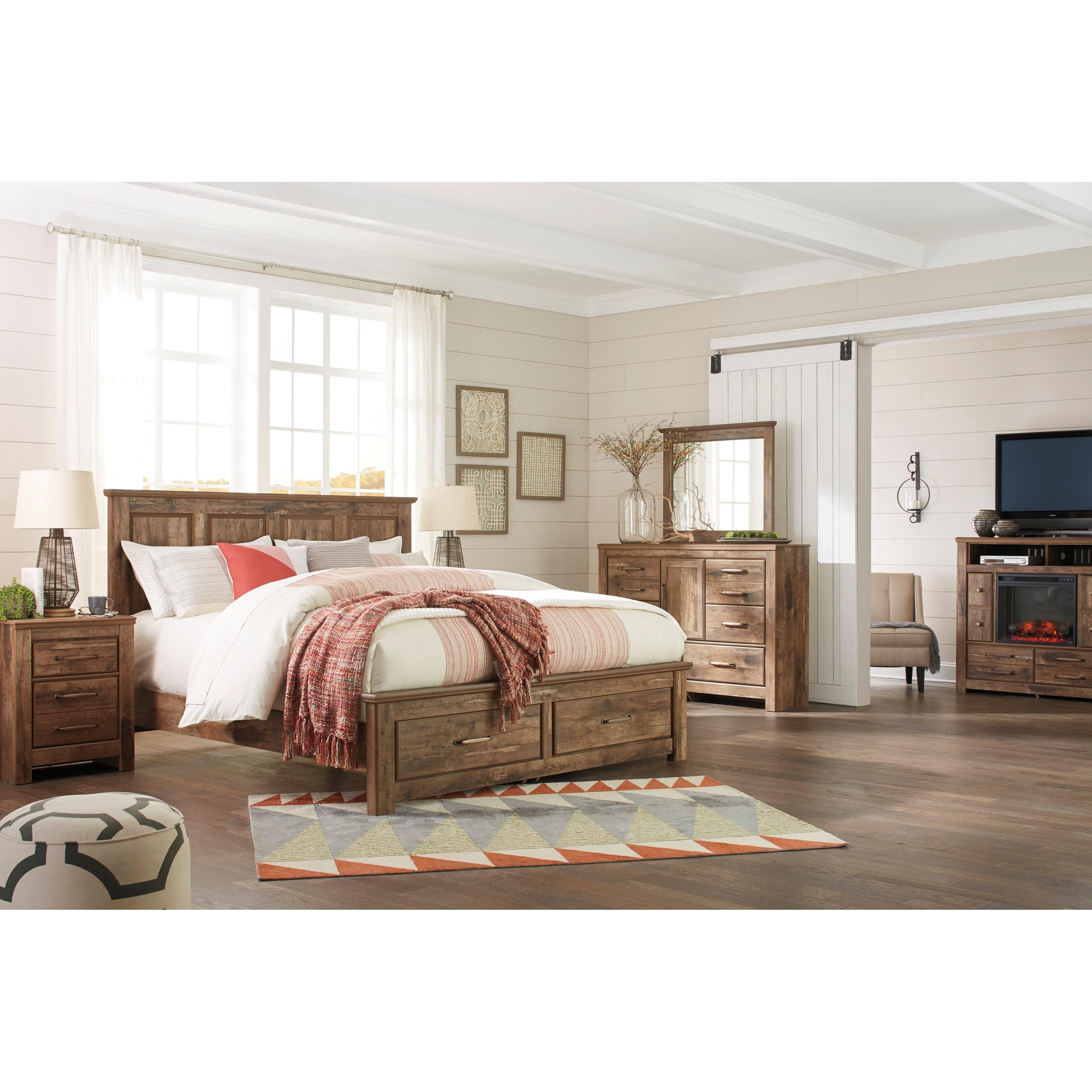 Ashley Signature Design Blaneville King Panel Storage Bed Johnny Janosik Platform Beds Low