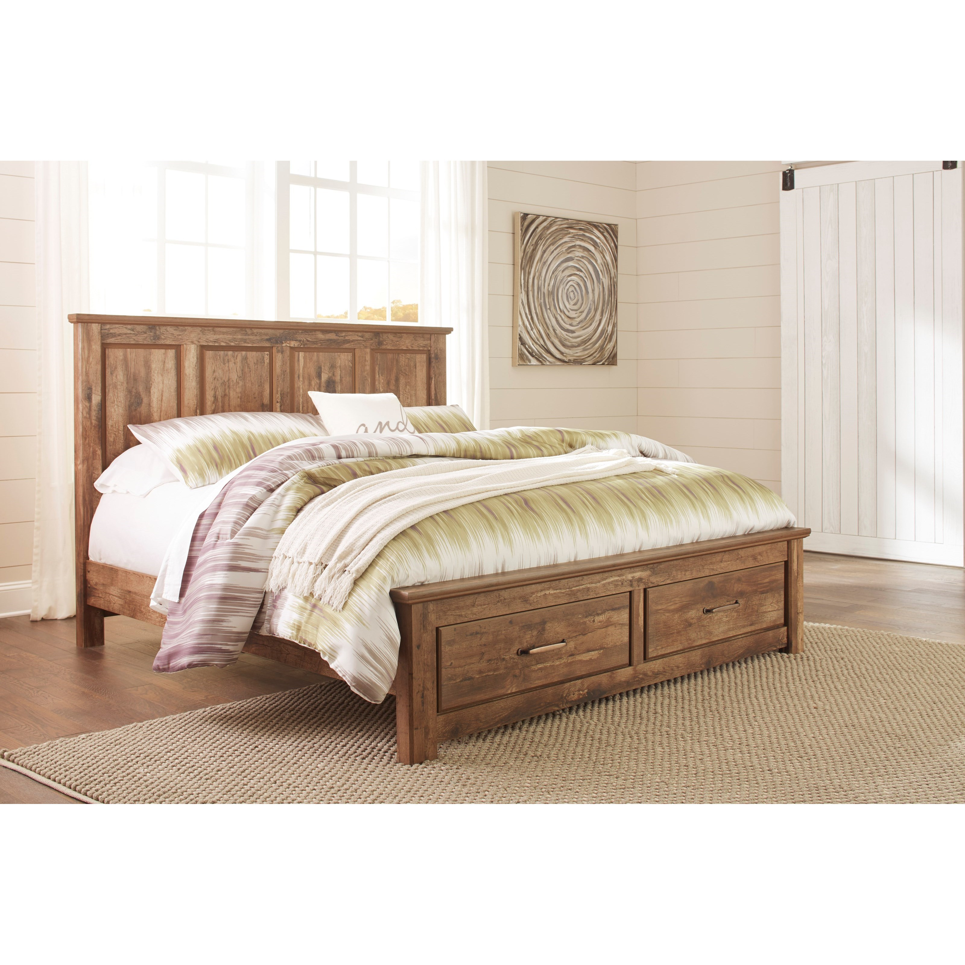 Ashley signature design blaneville king panel storage bed dunk bright furniture platform - Ashley furniture platform beds ...