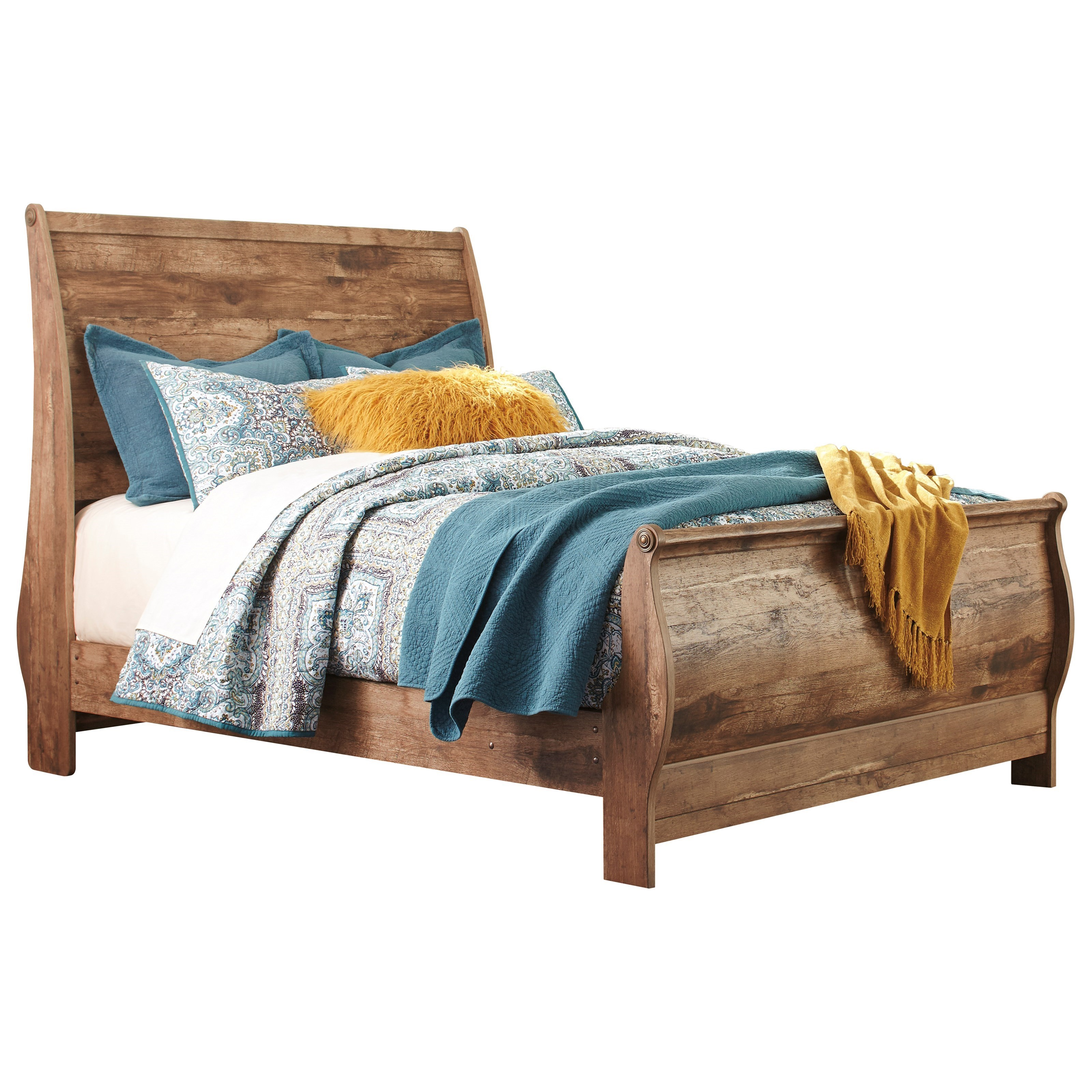 Signature Design By Ashley Blaneville Rustic Style Queen Sleigh Bed John V Schultz Furniture