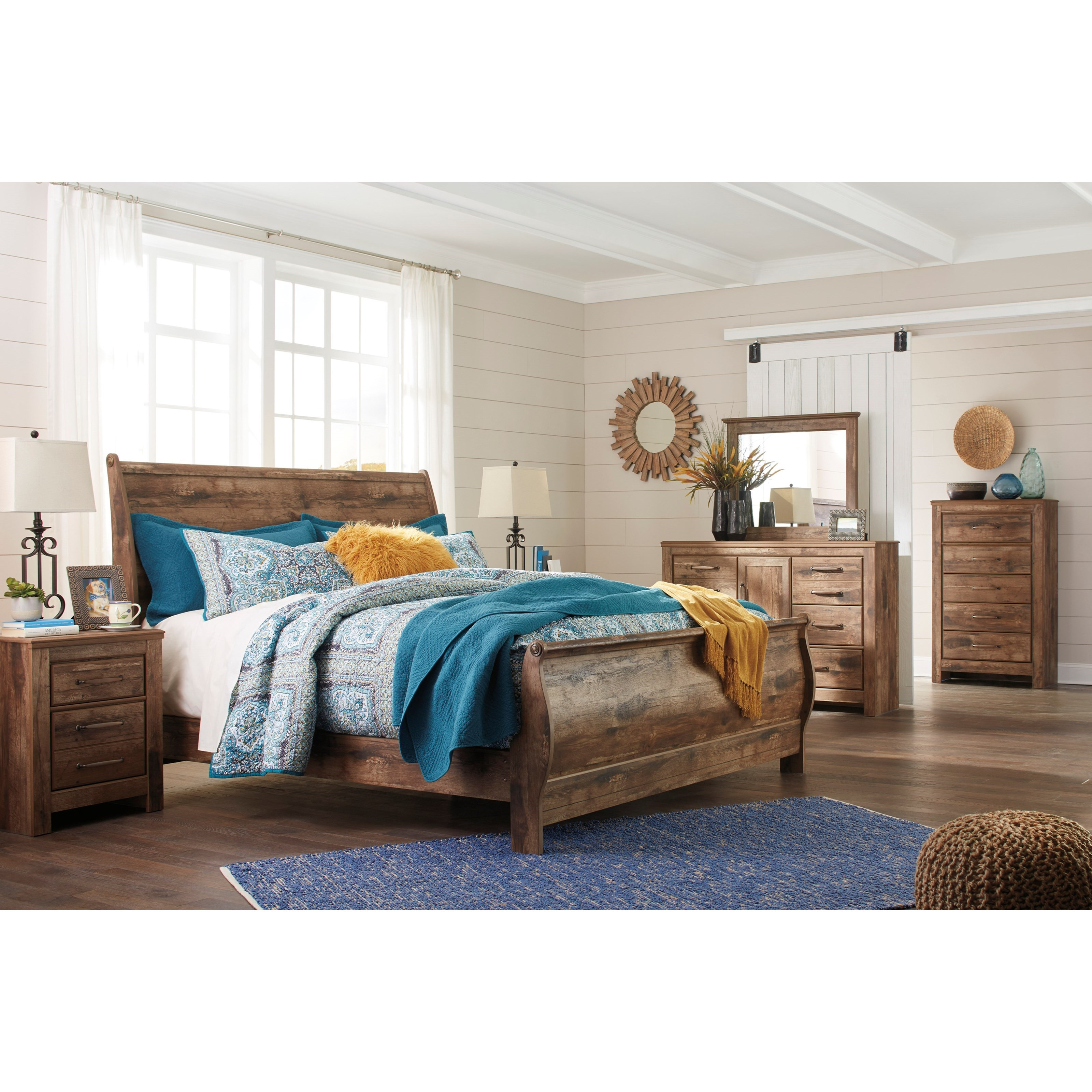 Signature Design By Ashley Blaneville Rustic Style King Sleigh Bed Del Sol Furniture Sleigh Beds