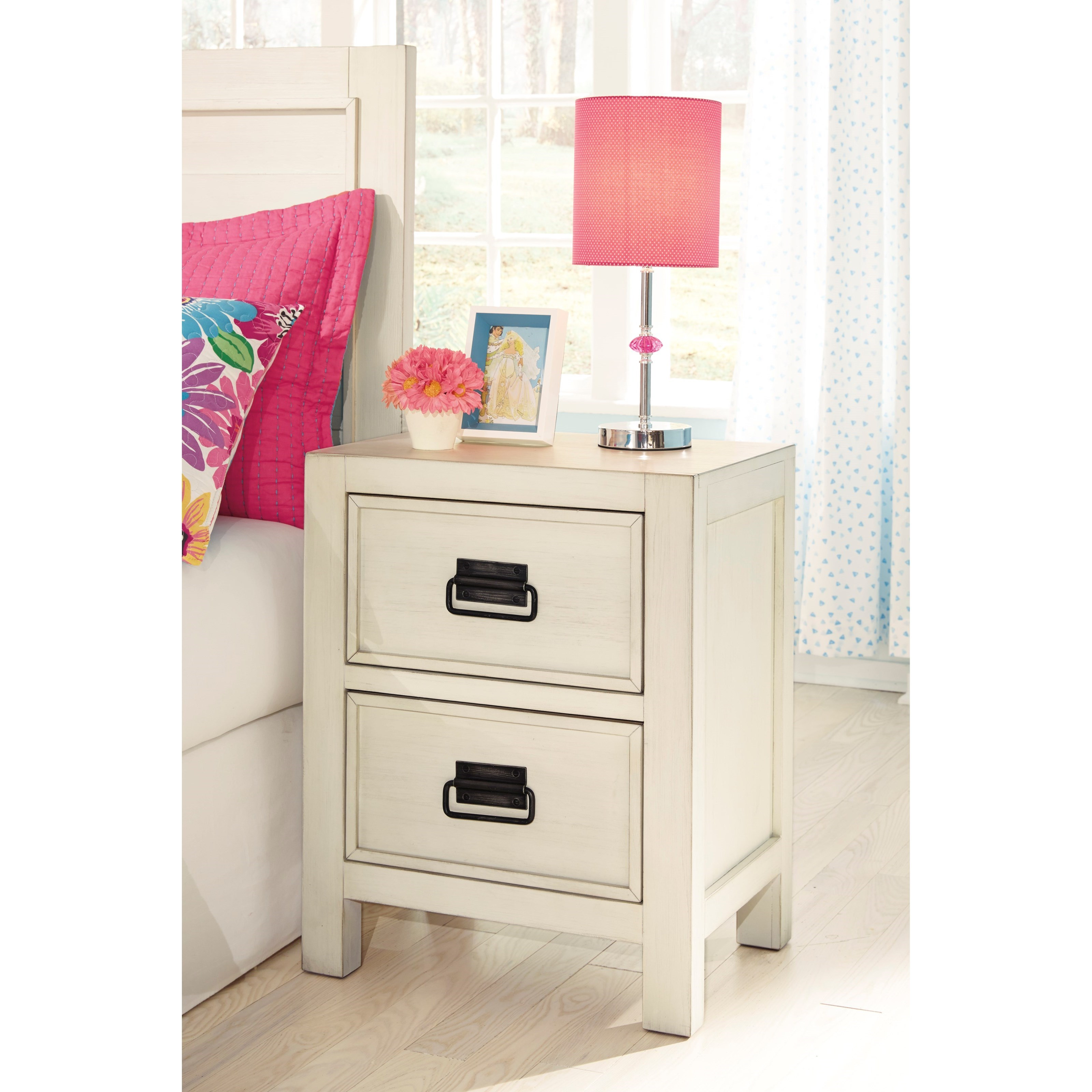 Signature Design By Ashley Blinton B523 92 2 Drawer Nightstand In White Finish Furniture And