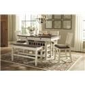 Signature Design by Ashley Bolanburg 6-Piece Counter Table with Bench and Stools - Item Number: 444647018
