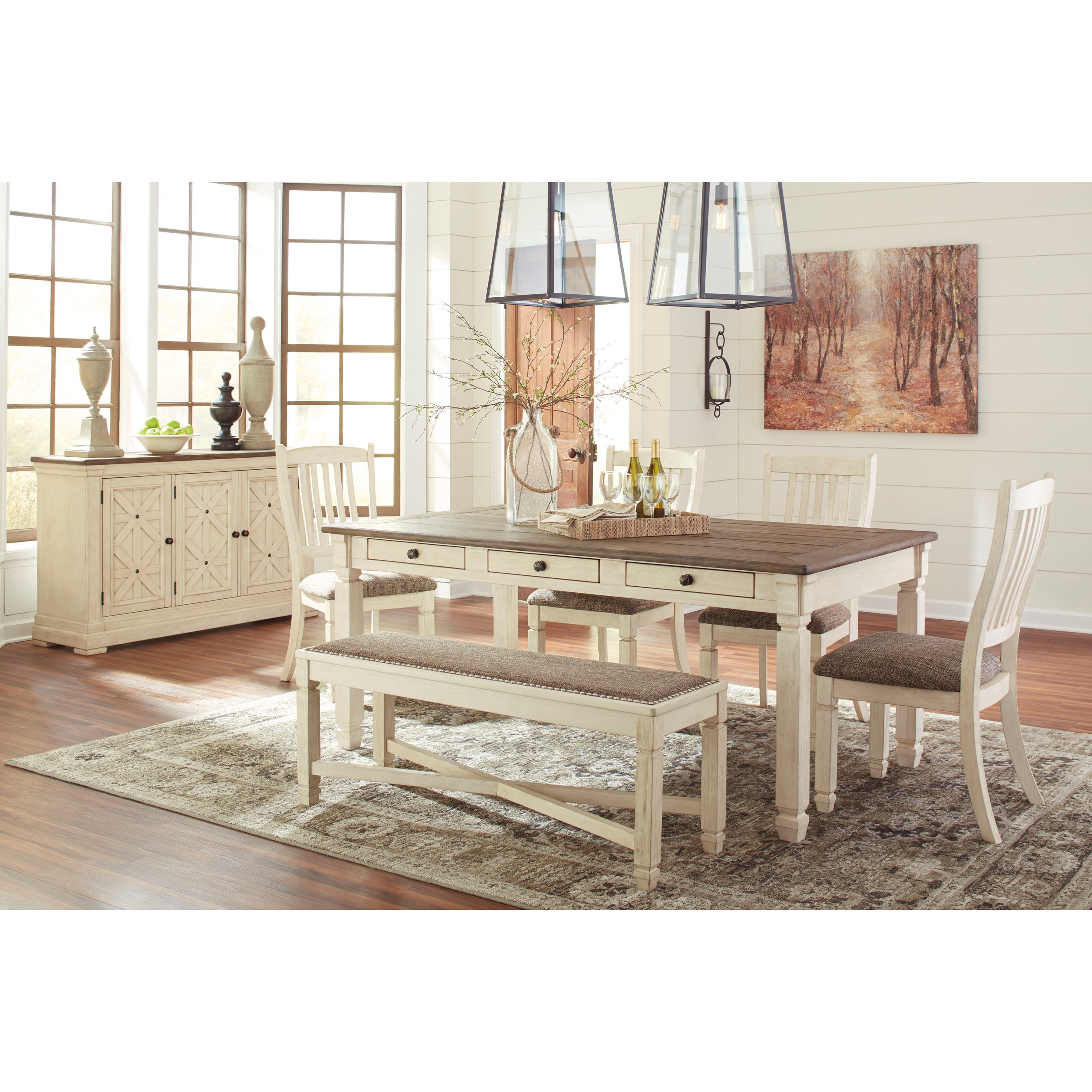 Signature Design by Ashley Bolanburg Casual Dining Room Group - Item Number: D647 Dining Room Group 3