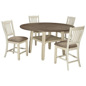 5 Piece Round Drop Leaf Counter Table Set
