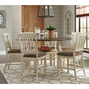 7 Piece Round Drop Leaf Counter Table Set