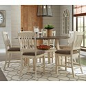 Signature Design by Ashley Bolanburg 7 Piece Round Drop Leaf Counter Table Set - Item Number: D647-13+6x124