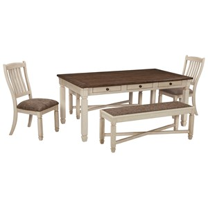 Signature Design by Ashley Bolanburg Table and Chair Set with Bench