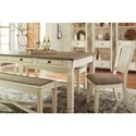 Signature Design by Ashley Bolanburg Relaxed Vintage Rectangular Dining Room Table with 6 Drawers