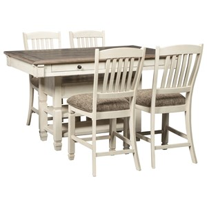 Signature Design by Ashley Bolanburg 5 Piece Counter Table and Stool Set