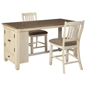 3-Piece Rect. Dining Room Counter Table Set