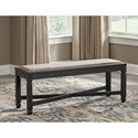 Signature Design by Ashley Tyler Creek Relaxed Vintage Upholstered Dining Room Bench with Nailhead Trimming