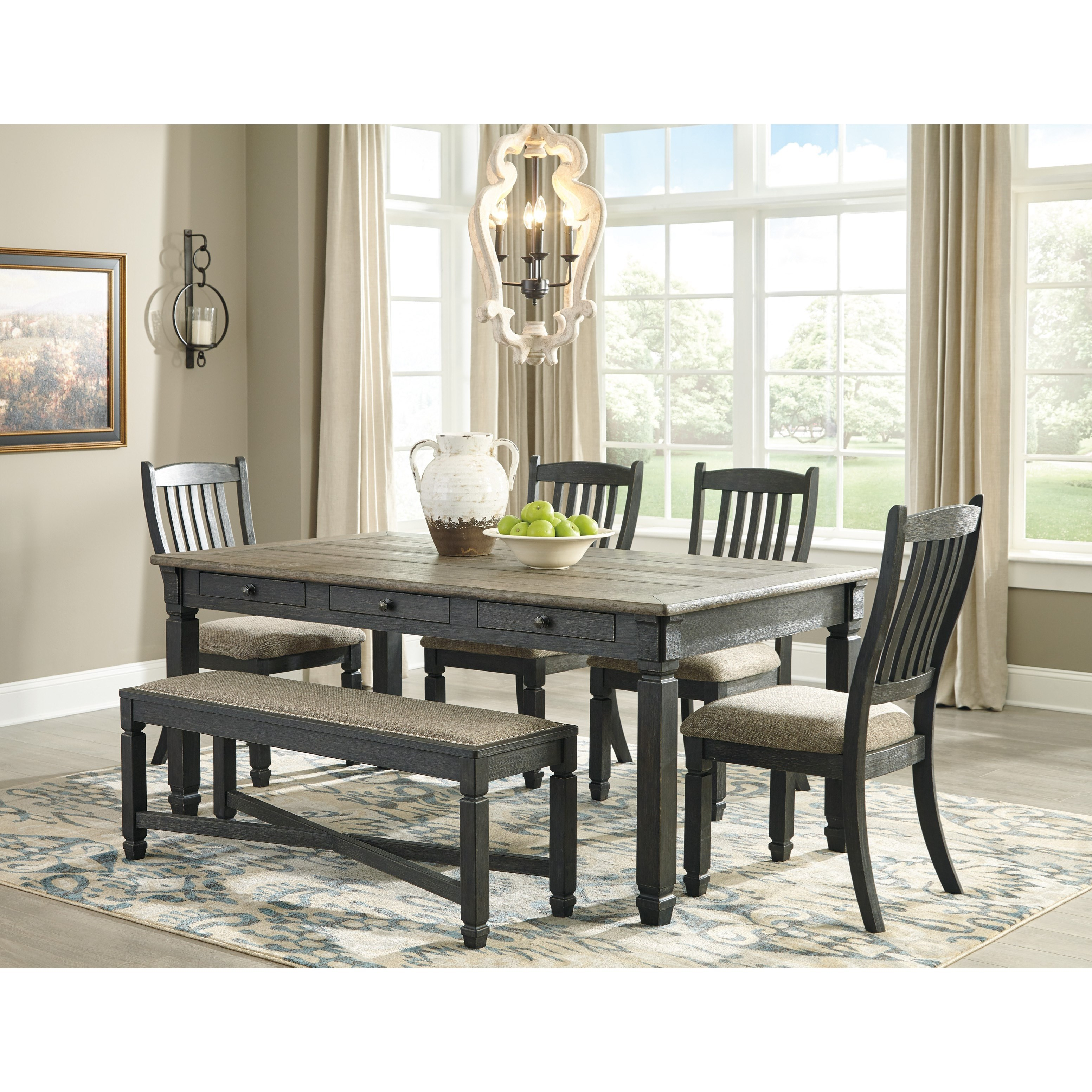Tyler Creek Table and Chair Set with Bench by Ashley (Signature Design) at Johnny Janosik