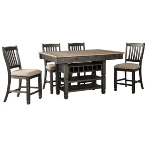 Signature Design by Ashley Tyler Creek 5 Piece Counter Table and Stool Set