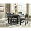 Signature Design by Ashley Tyler Creek Relaxed Vintage 5 Piece Counter Table with Wine Storage and Stool Set