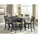 Signature Design by Ashley Tyler Creek Relaxed Vintage 7 Piece Counter Table with Wine Storage and Stool Set
