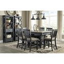 Signature Design by Ashley Tyler Creek Relaxed Vintage Rectangular Dining Room Table with Wine Bottle Storage