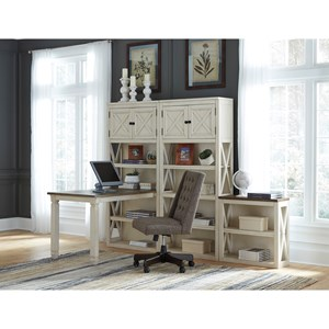 Return Desk with Three Bookcases