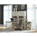 Signature Design by Ashley Bolanburg Return Desk with Three Bookcases - Item Number: H647-14+2x17+16