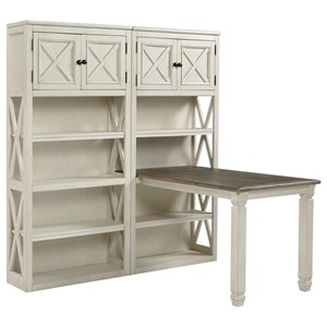 Return Desk with Two Bookcases