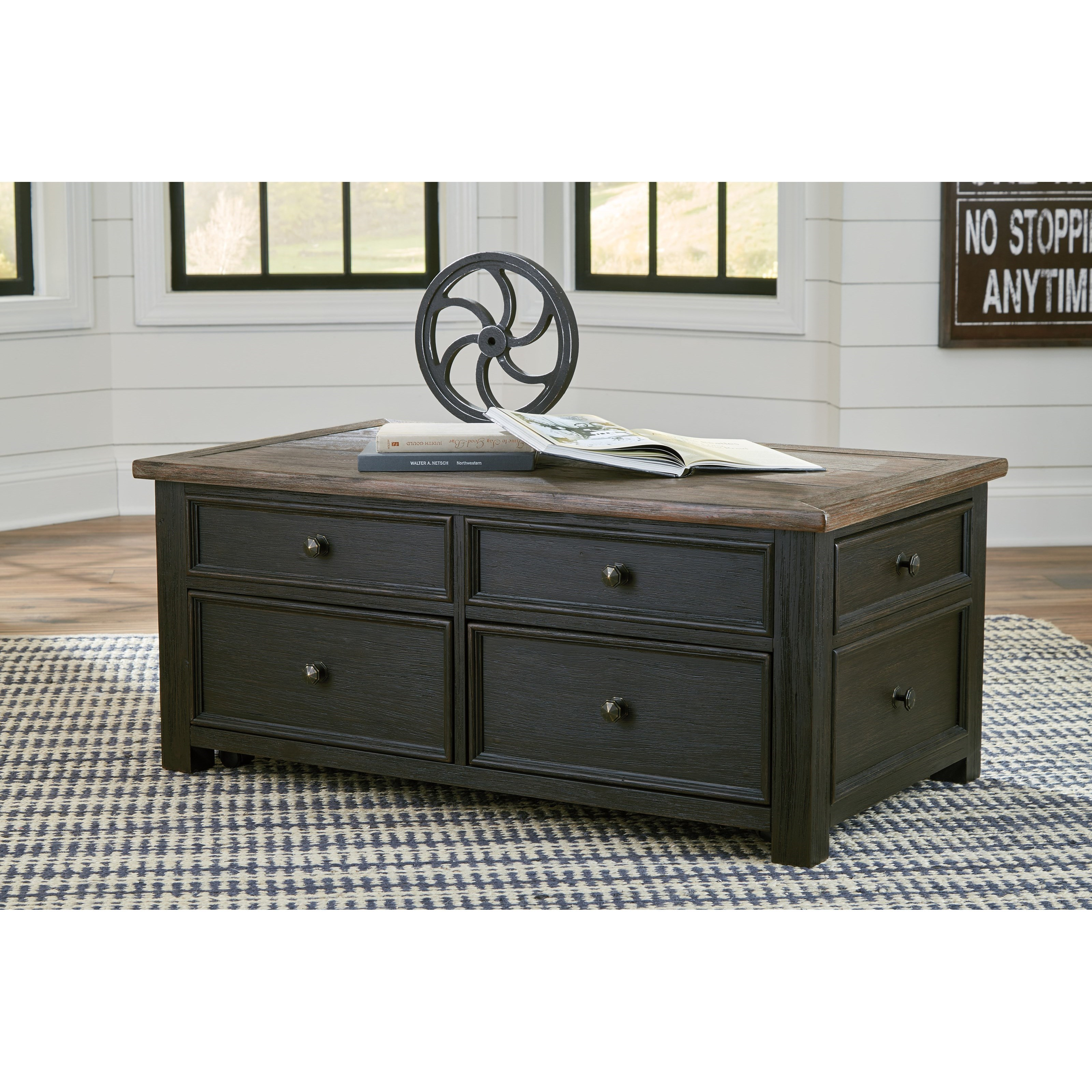 Lift Top Coffee Table Antique: Antique Black Lift Top Cocktail Table With 4